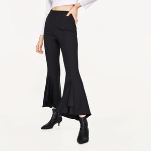 NWT ZARA FRILLY CREPE TROUSERS